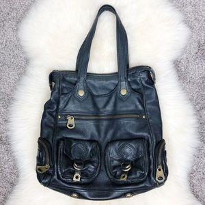Marc Jacobs Black Leather Tote Handbag Satchel